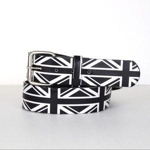 Hot Topic Black White Geometric British Flag Belt